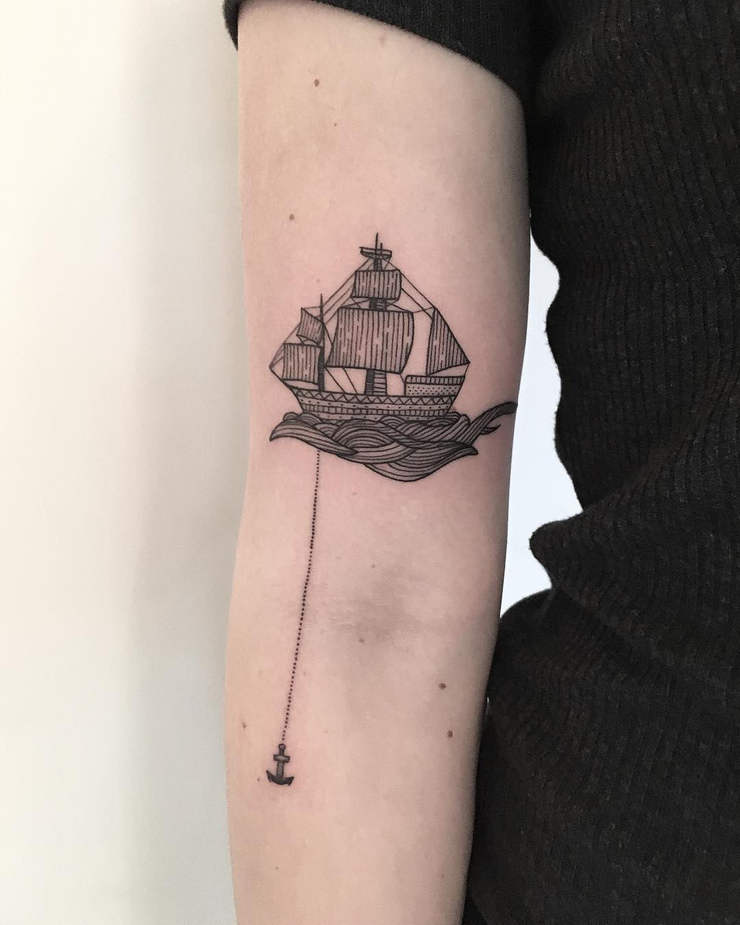Ship and anchor by tattooist Spence @zz tattoo