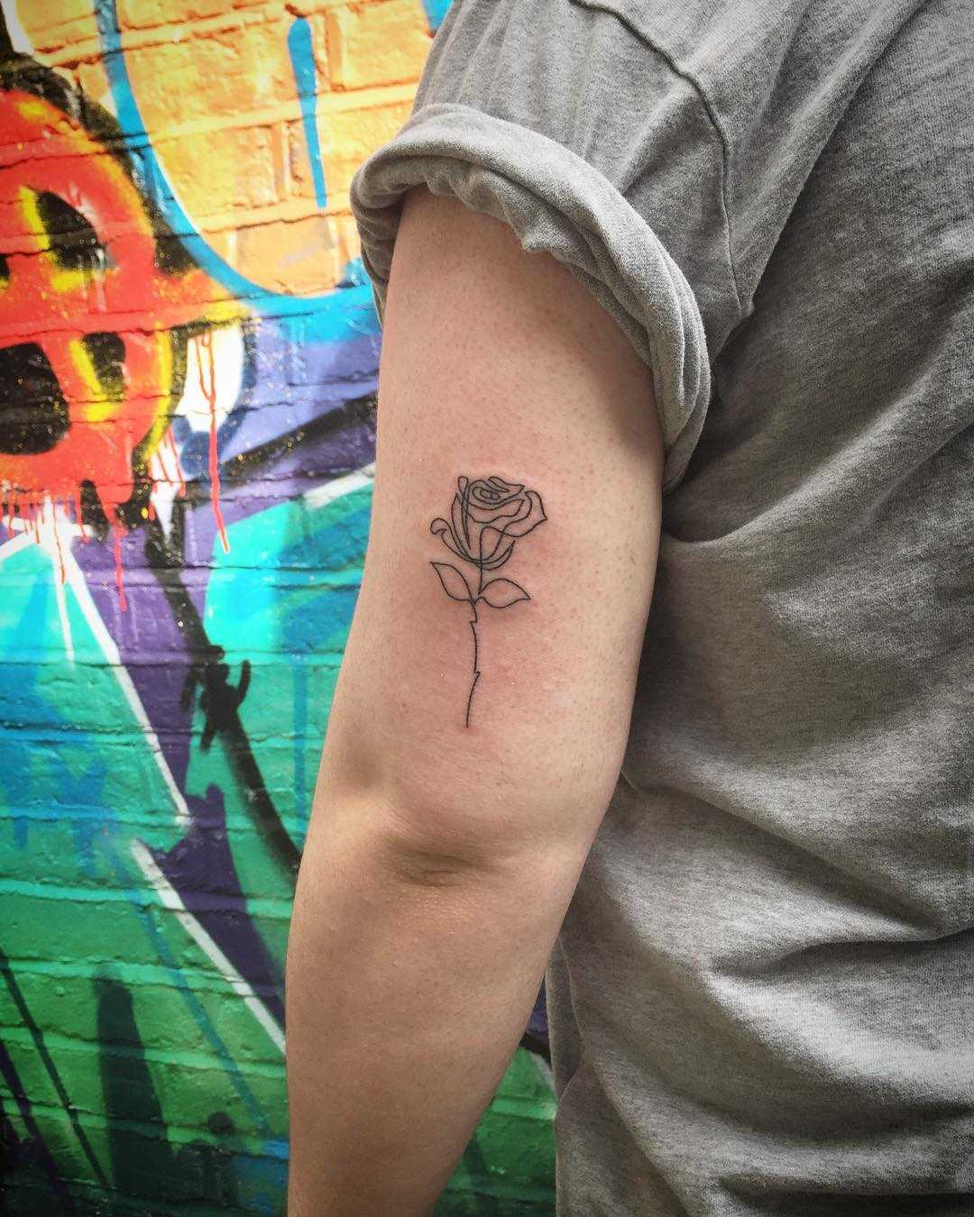Single line rose tattoo by Kirk Budden