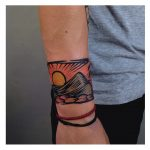 Sun and mountains tattoo by Eugene Dusty Past