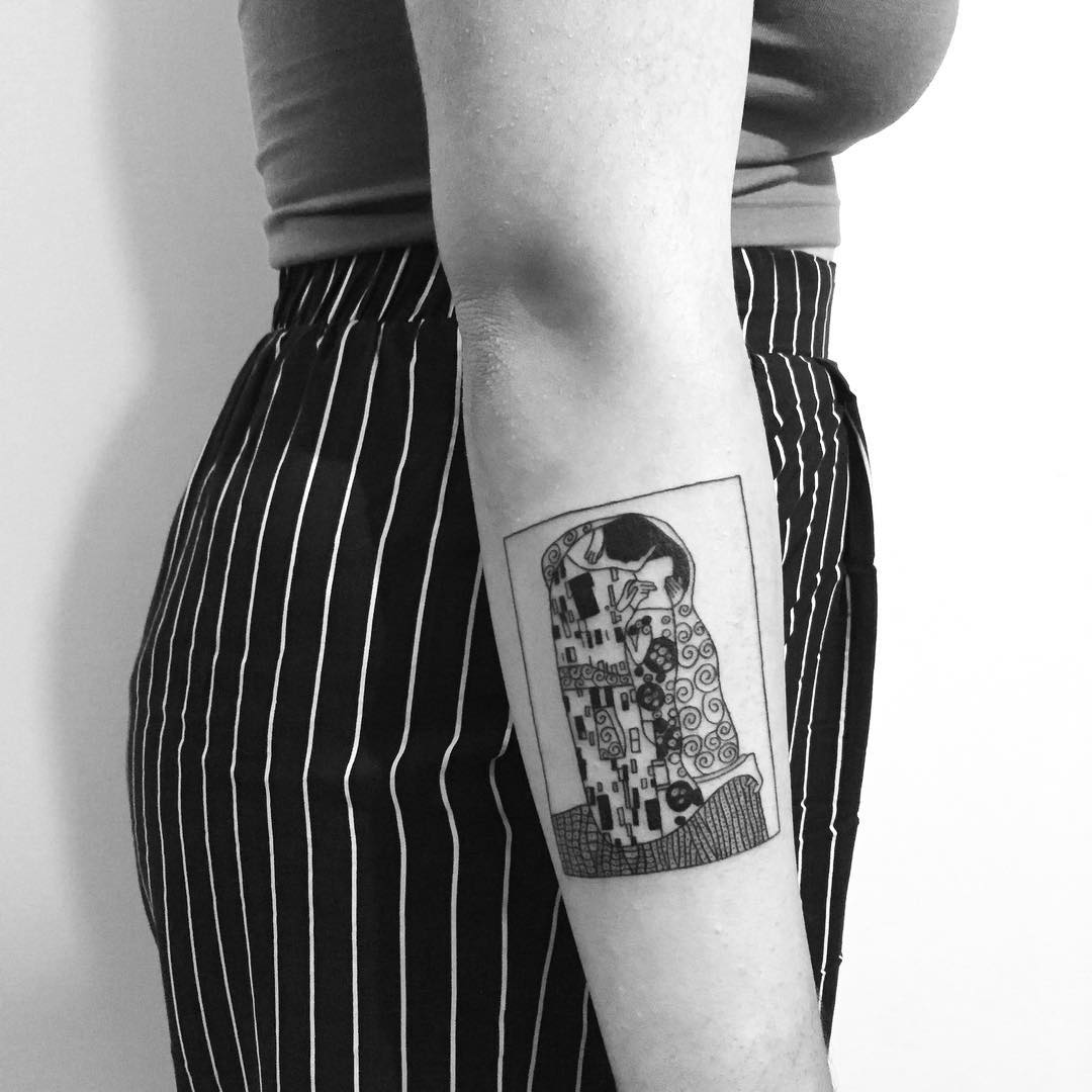 Tattoo based on Klimt's painting by Chinatown Stropky