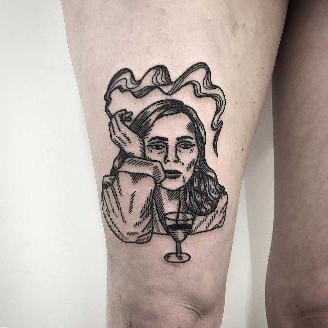 Tattoo based on a painting of Joni Mitchell by Deborah Pow