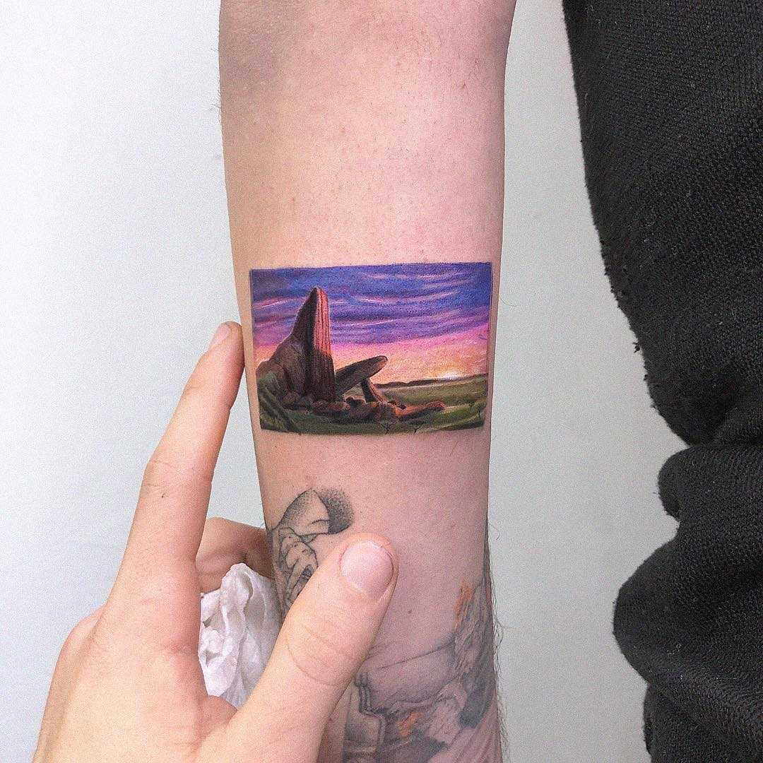 The Lion King scene tattoo by Eden Kozo
