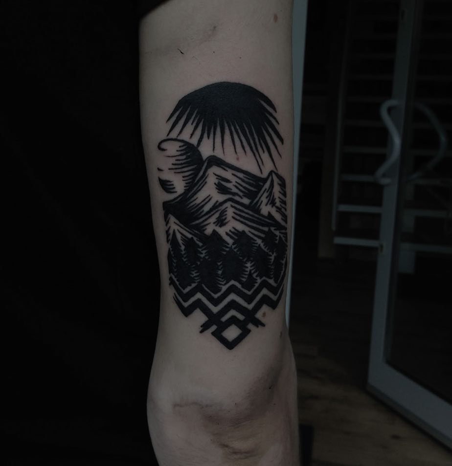 Twin Peaks landscape tattoo by Eugene Dusty Past