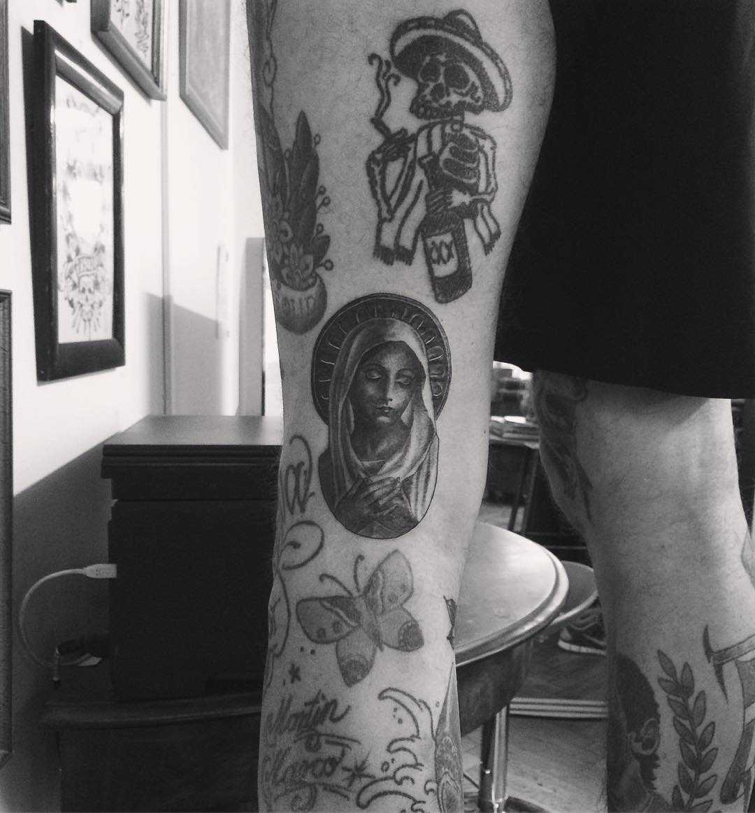Virgin Mary tattoo by Annelie Fransson