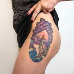 Watercolor lighthouse tattoo by Valeria Yarmola