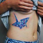Watercolor paper crane tattoo by Valeria Yarmola