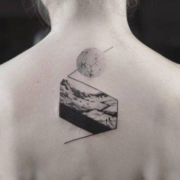 Blackwork landscape tattoo by Aga Kura