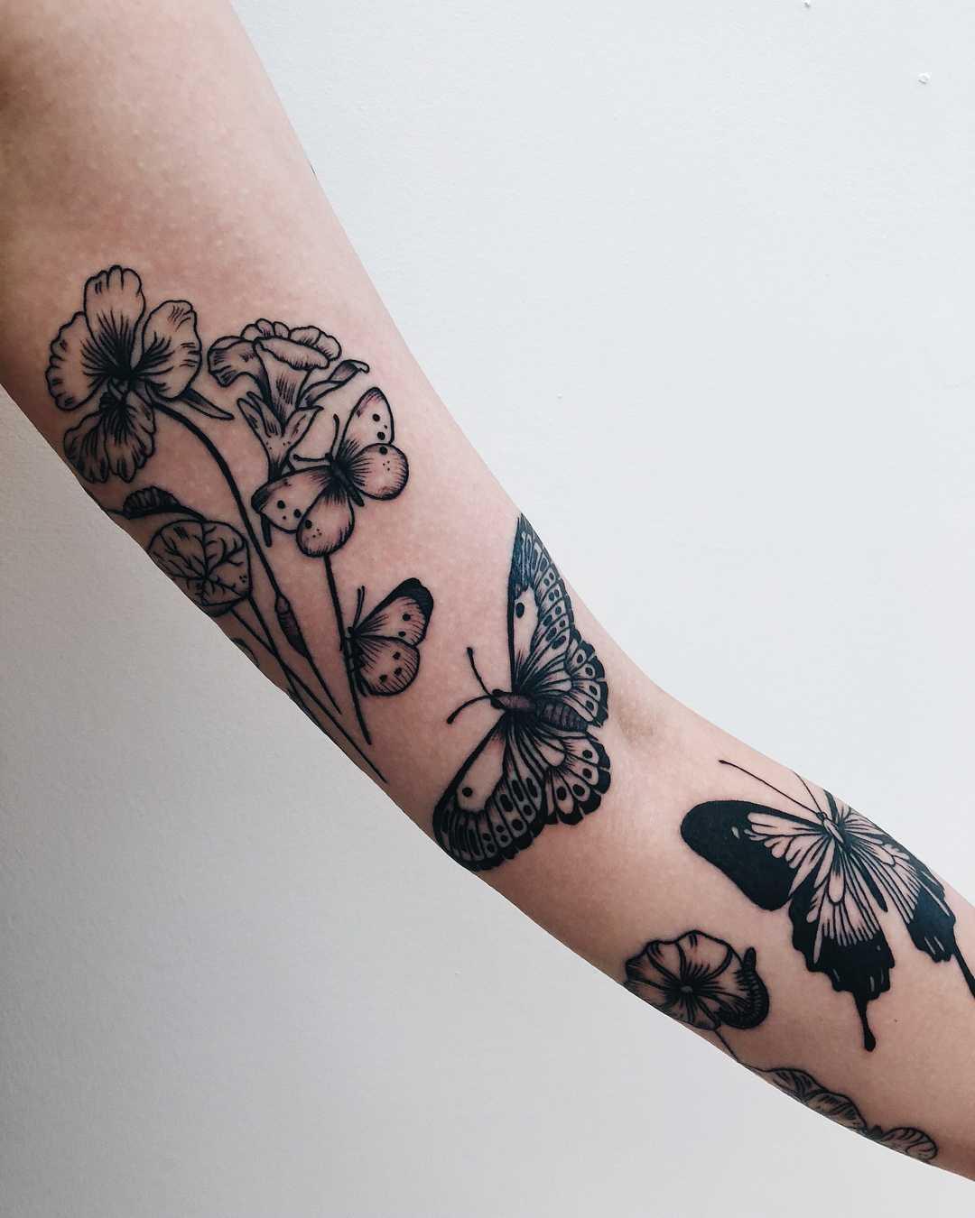 Botanical tattoos by Finley Jordan