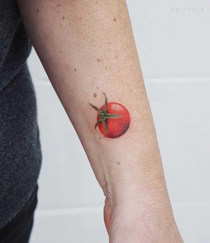 Small Jacaranda Tattoo: Cherry Tomato Tattoo By Tattooist Picsola
