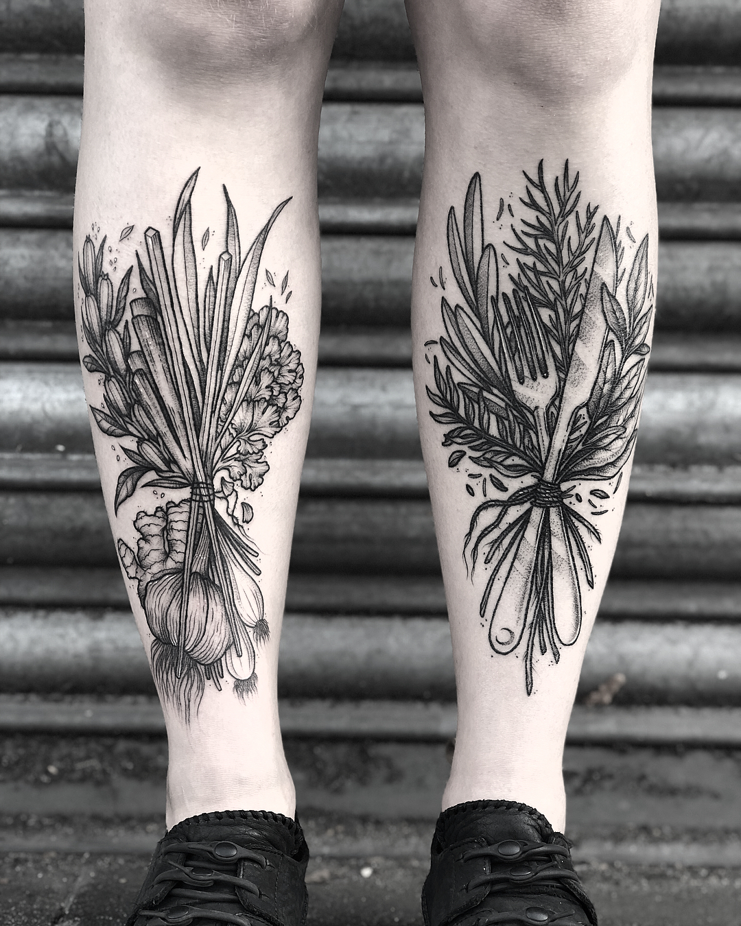 Chinese herbs garlic, spring onion, and sesam by Lozzy Bones Tattoo