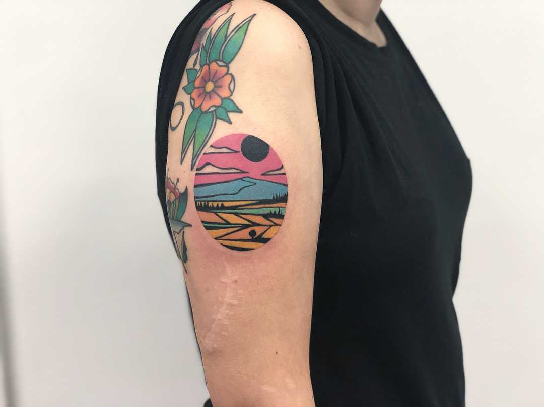 Colorful landscape on the right arm by Eugene Dusty Past