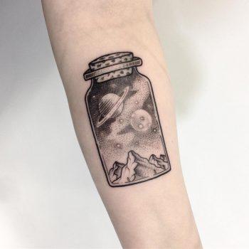 Cosmic jar tattoo by Smutek