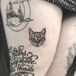 Cute cat portrait tattoo by Annelie Fransson