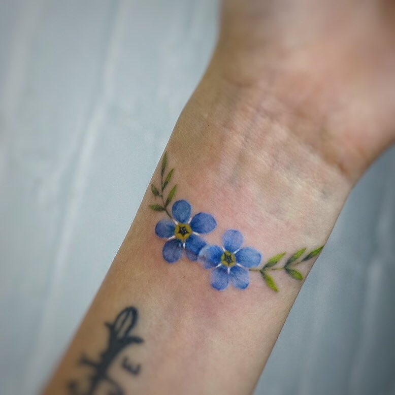 Forget-me-not tattoo by tattooist G.NO