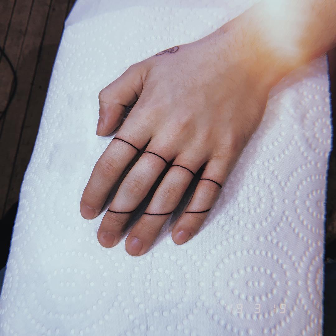 Hand-poked lines by Belladona Hurricane