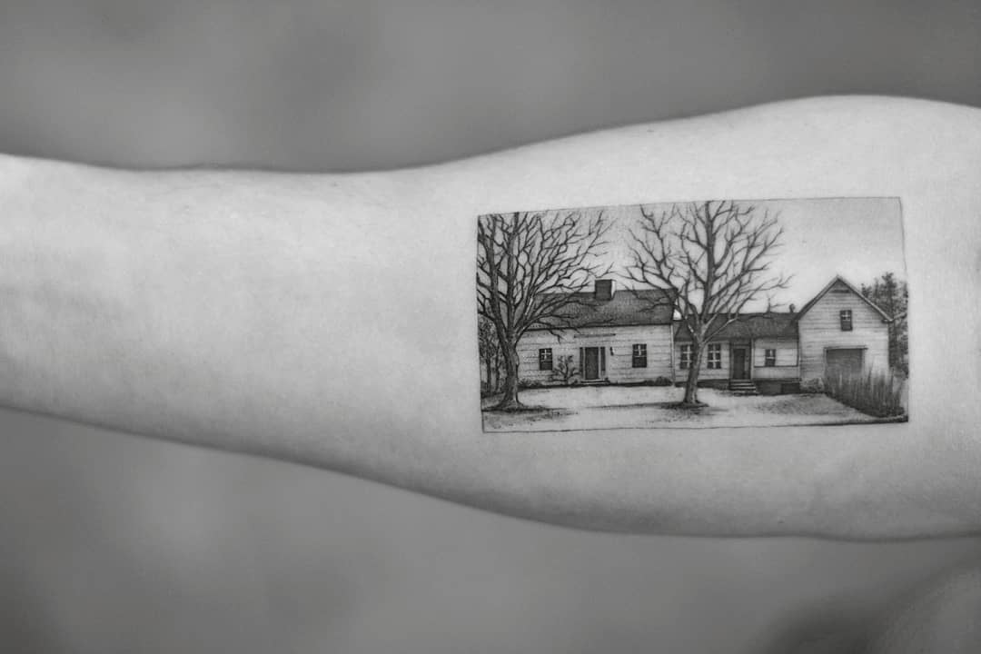 House tattoo by Dragon Ink