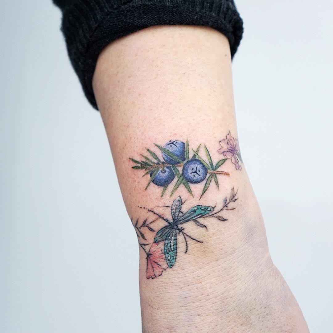 Small Jacaranda Tattoo: Juniper Berries Tattoo By Tattooist Picsola