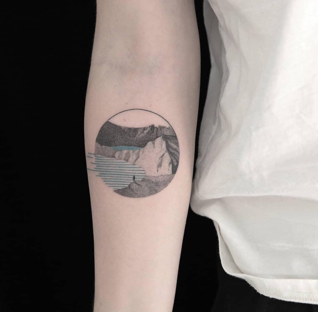 Kelimutu volcano tattoo by Aga Kura