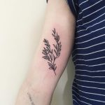 Little rosemary stem tattoo by Suki Lune