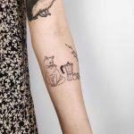 Lovely cat and still life tattoo by Kelli Kikcio