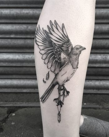 Magpie tattoo by Lozzy Bones