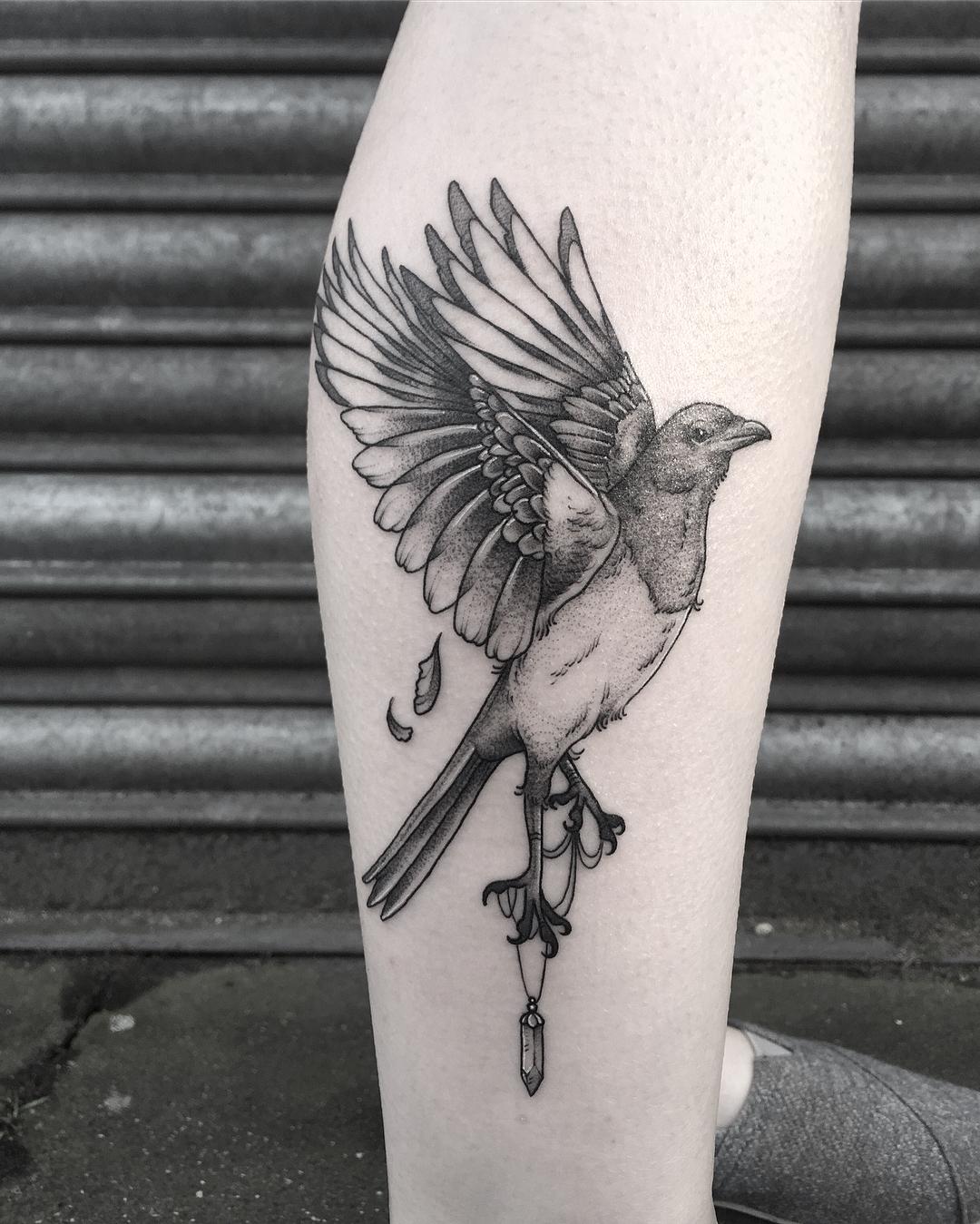 Magpie tattoo by Lozzy Bones