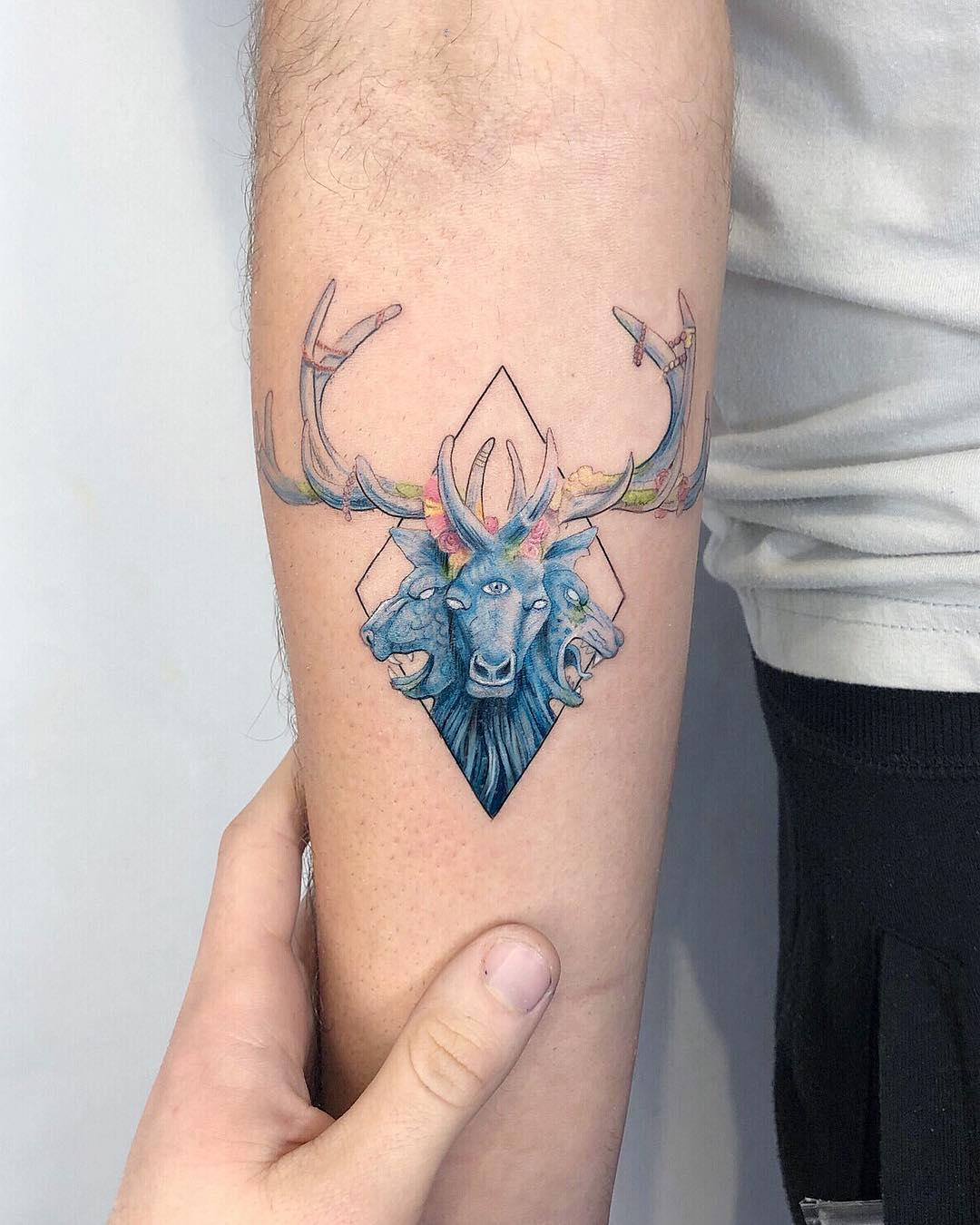 Mastodon album cover tattoo by Eden Kozo