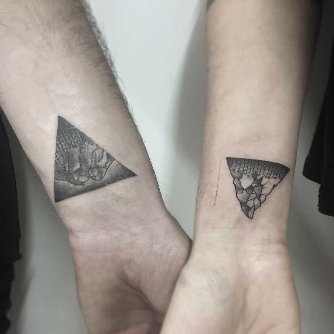 Matching mountain tattoos by Gianina Caputo