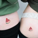 Matching watermelon tattoos by tattooist picsola
