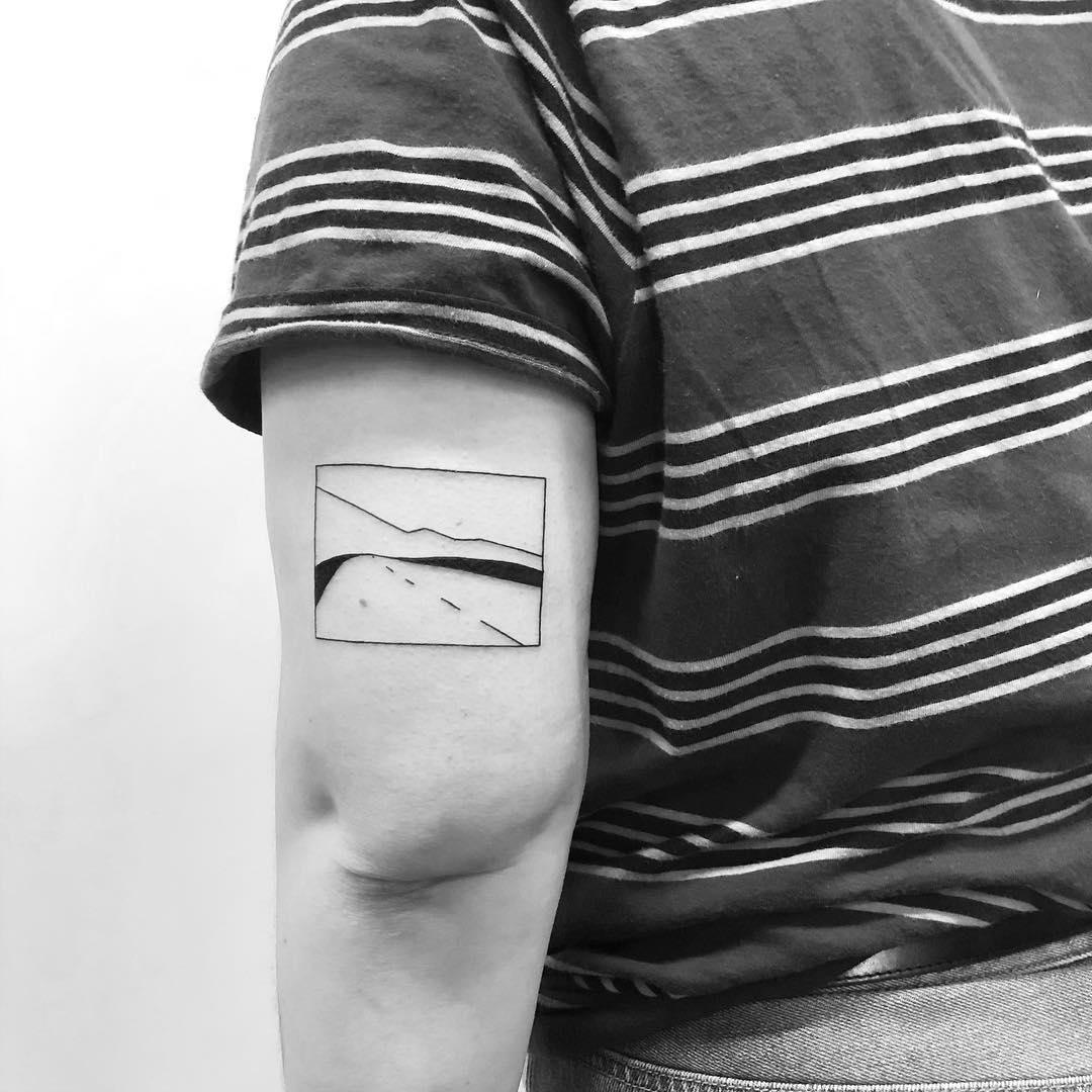 Minimalist road tattoo by Chinatown Stropky