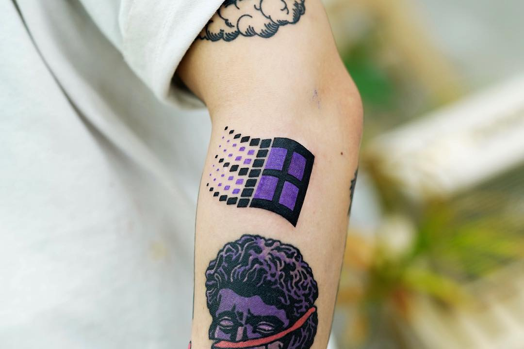 Microsoft Windows logo tattoo by Puff Channel