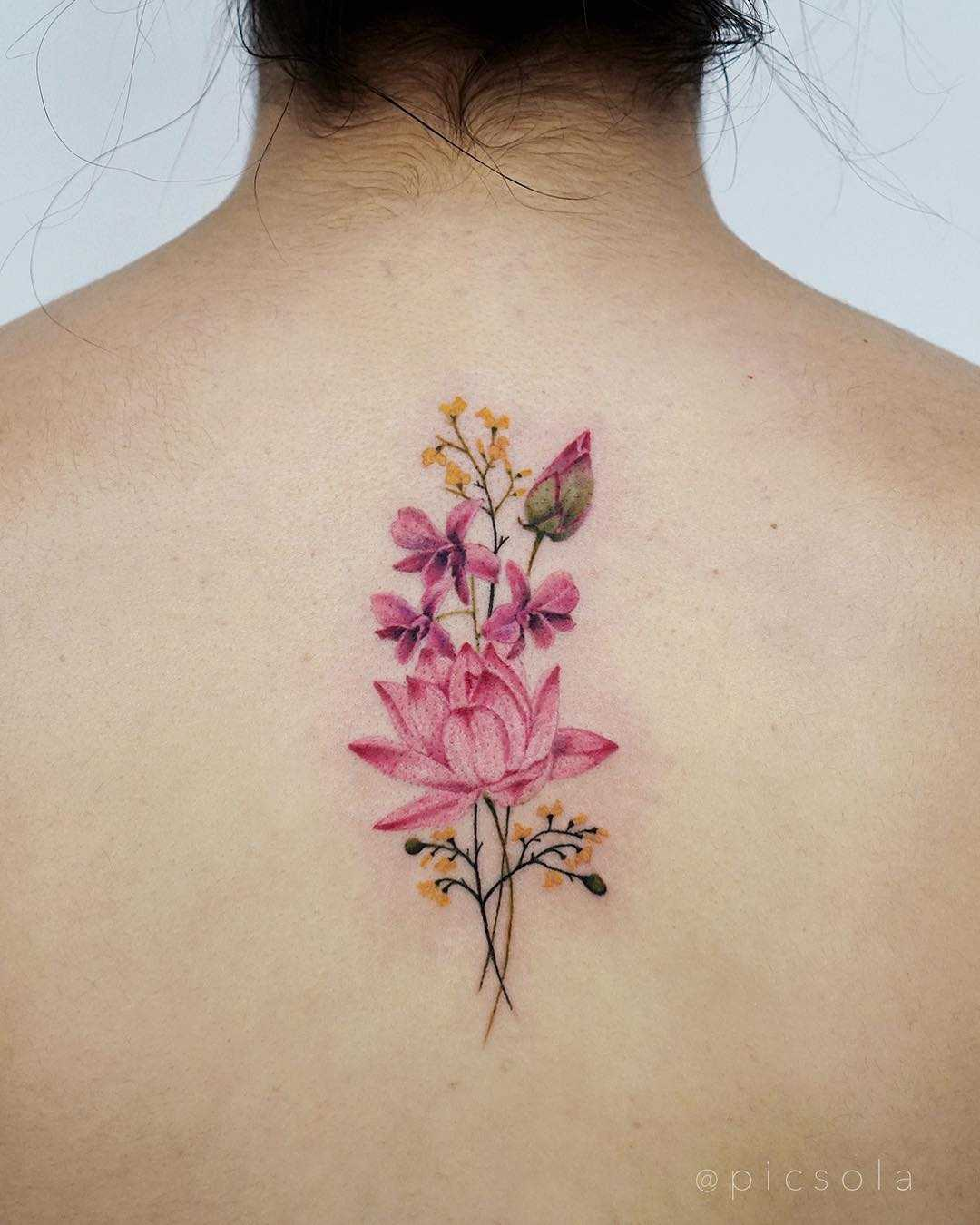 Small Jacaranda Tattoo: Orchids, Lotus, And Burmese Rosewood Flower Tattoo By