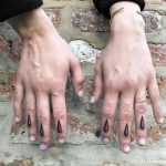 Rain drop tattoos by Tine DeFiore