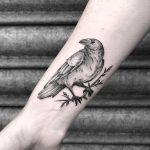 Raven tattoo by Lozzy Bones