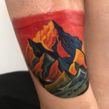 Red and yellow mountains by Mavka Leesova