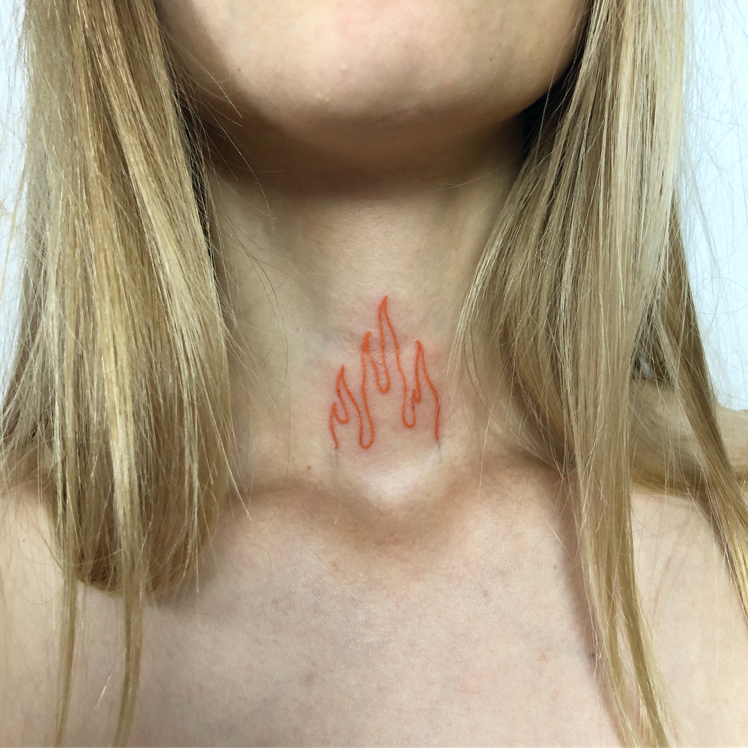 Red flames by Hand Job Tattoo
