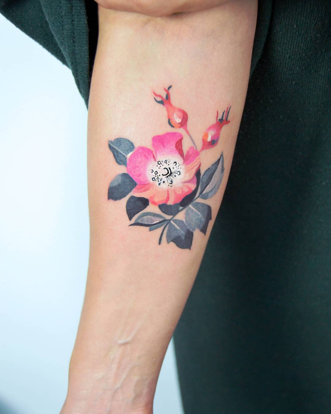 Rosehip tattoo by Mavka Leesova