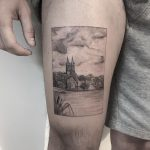 Town scenery by tattooist Spence @zz tattoo