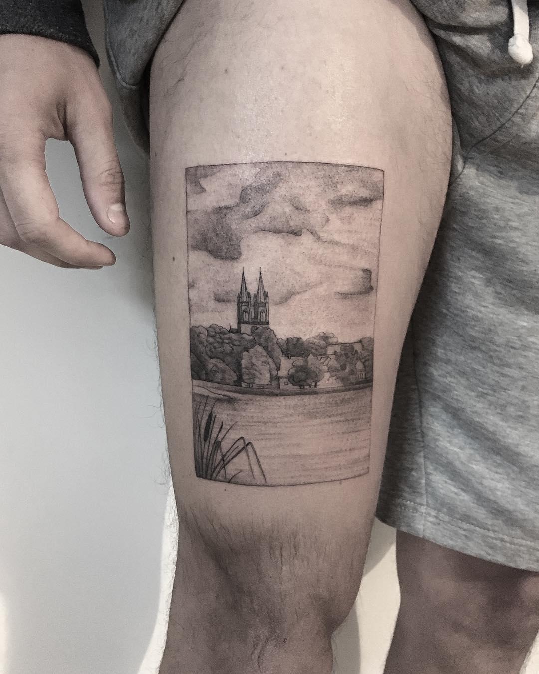 Town scenery by tattooist Spence @zz tattoo