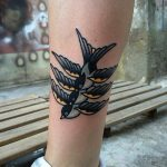 Triple swallow tattoo by Carina Soares