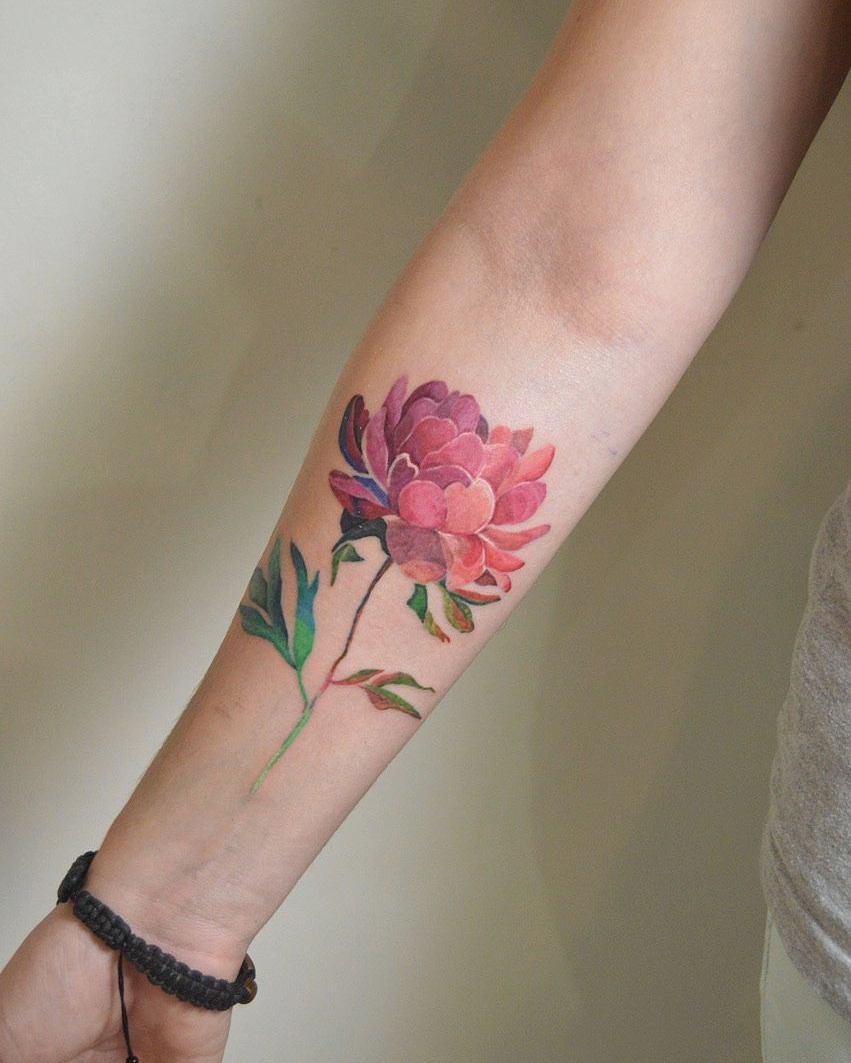 Watercolor peony tattoo by Mavka Leesova