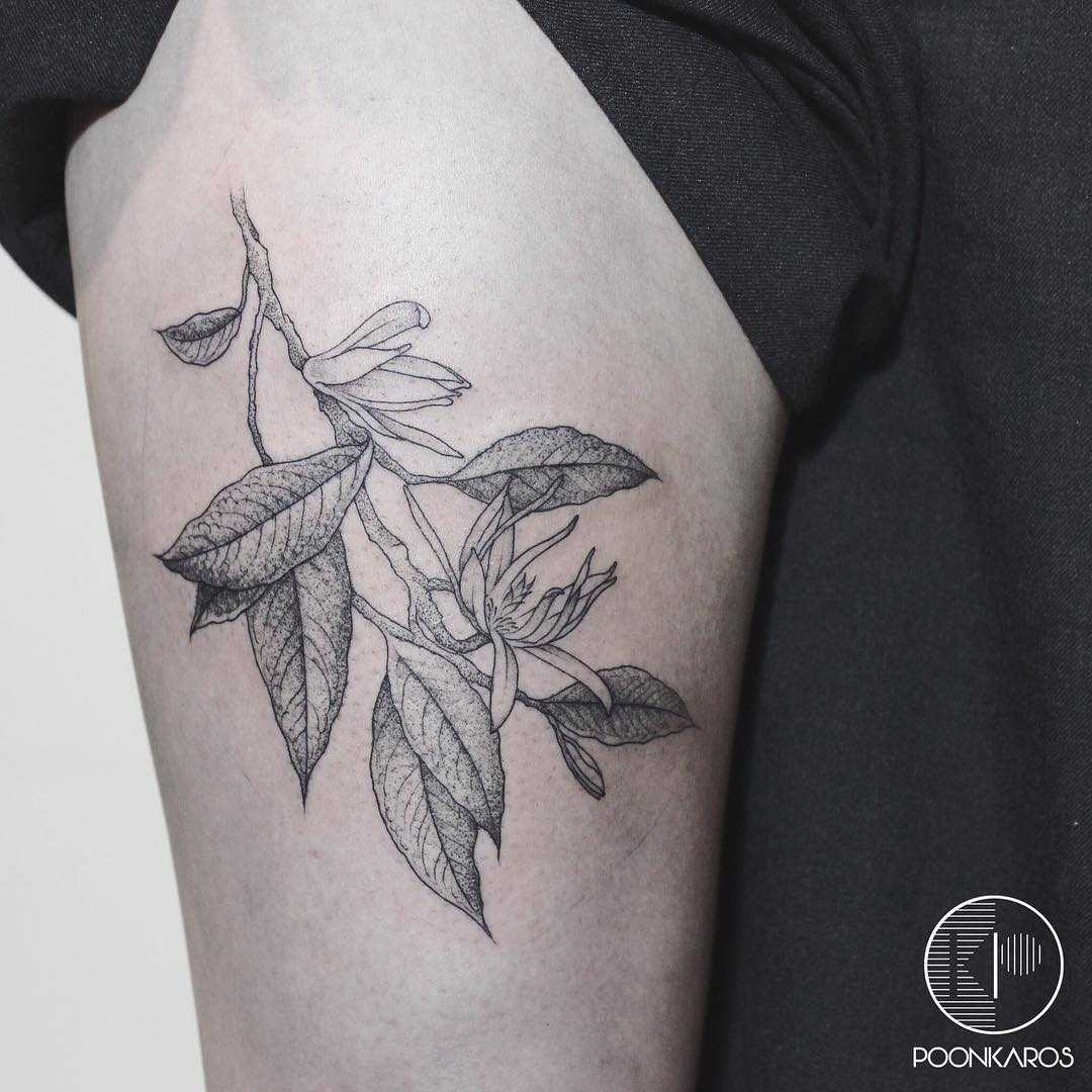 White champaca tattoo by Karry Ka-Ying Poon
