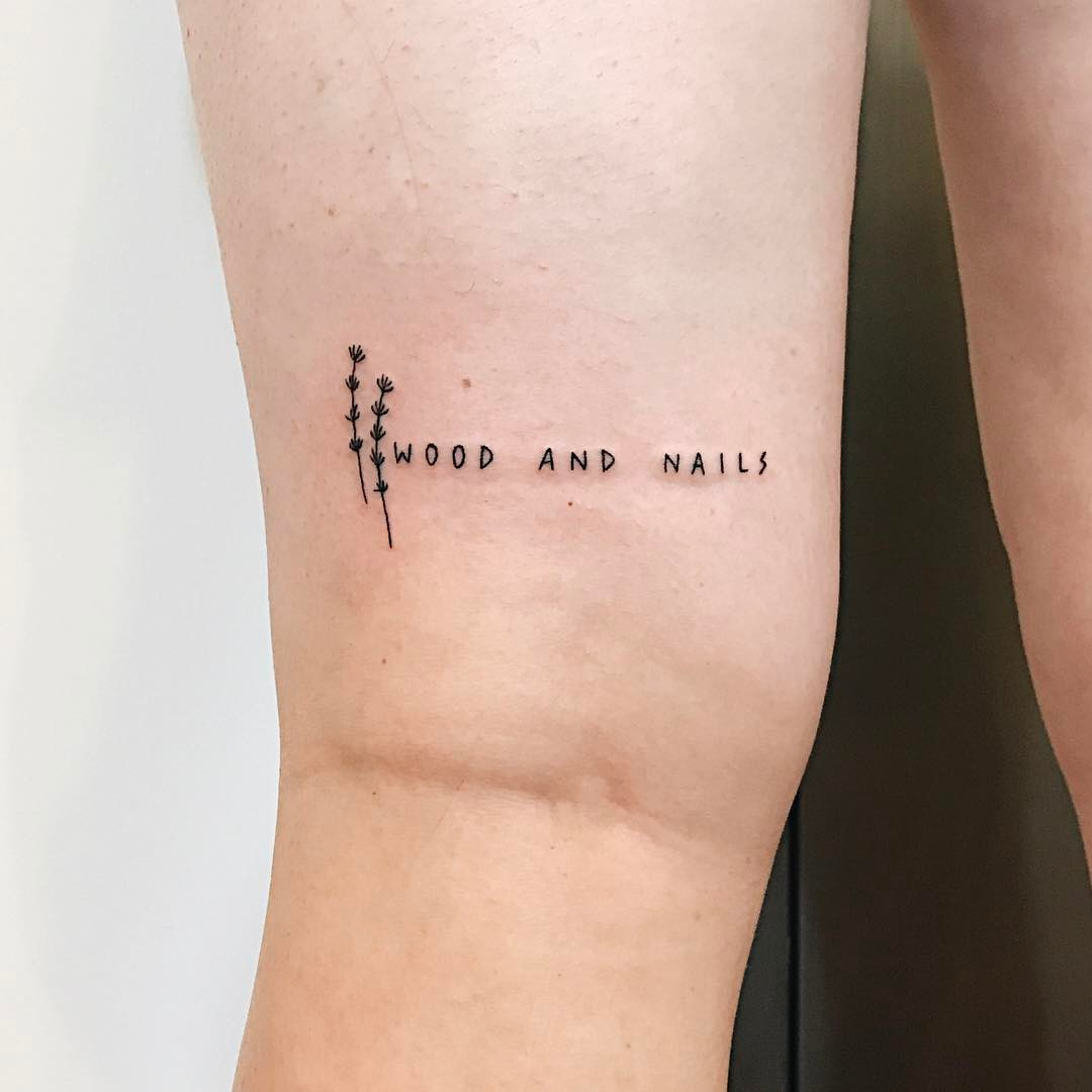 Wood and nails tattoo by Kelli Kikcio