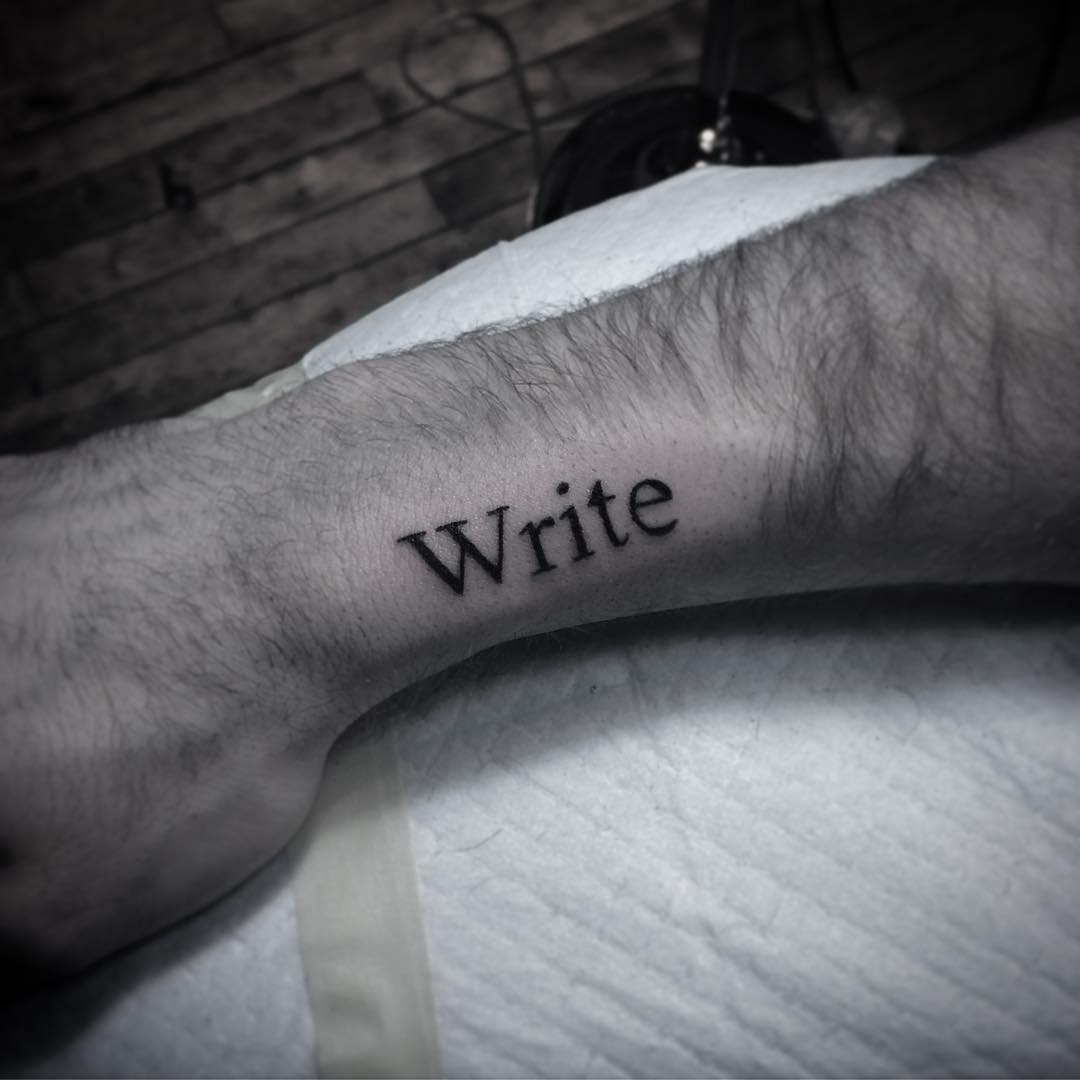 Write tattoo by Belladona Hurricane