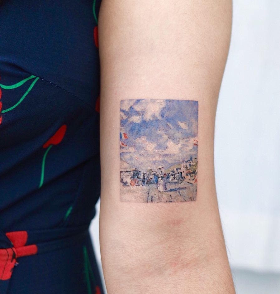 Claude Monet's The Beach at Trouville by tattooist Nemo