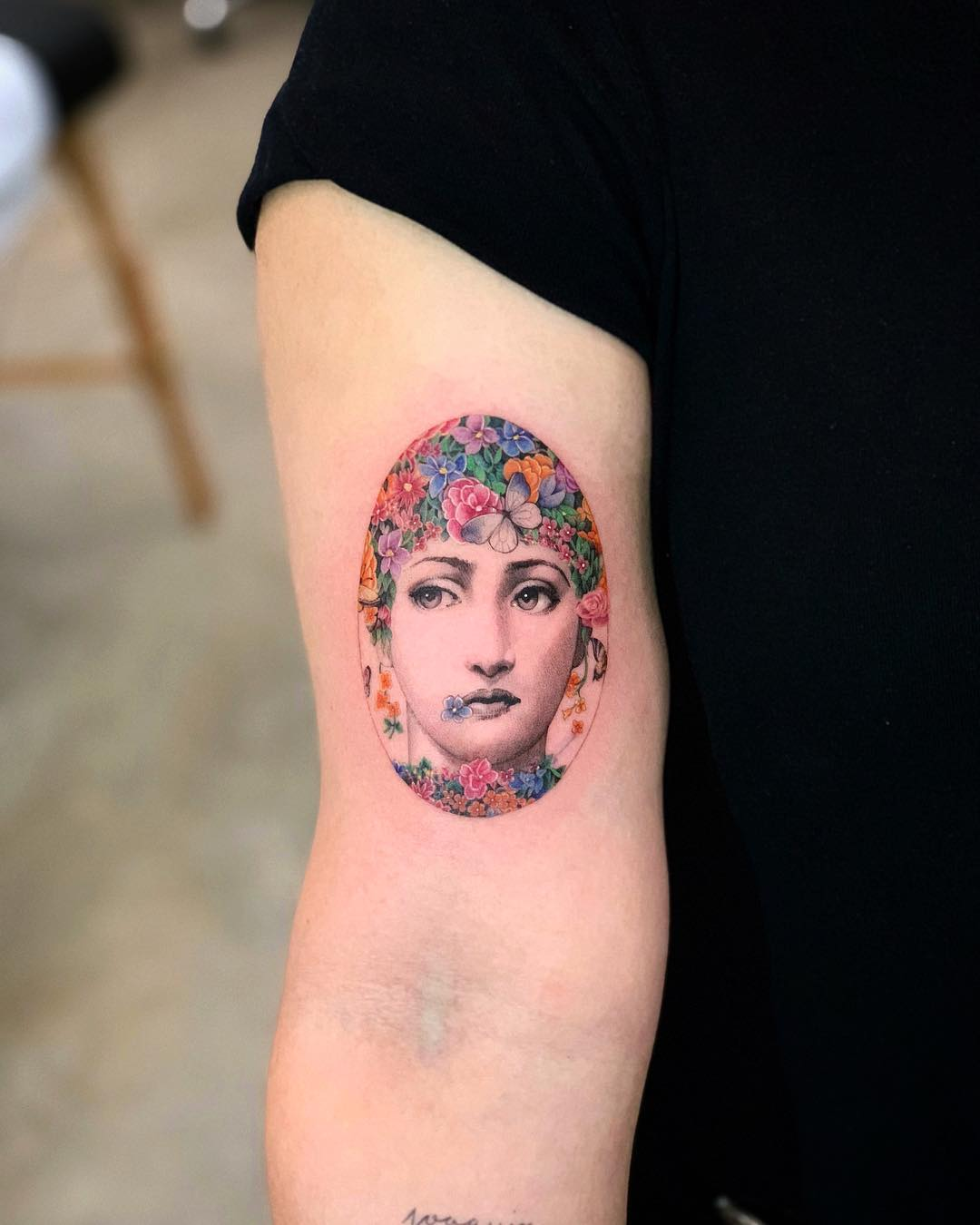 Fornasetti with flowers by Dragon Ink