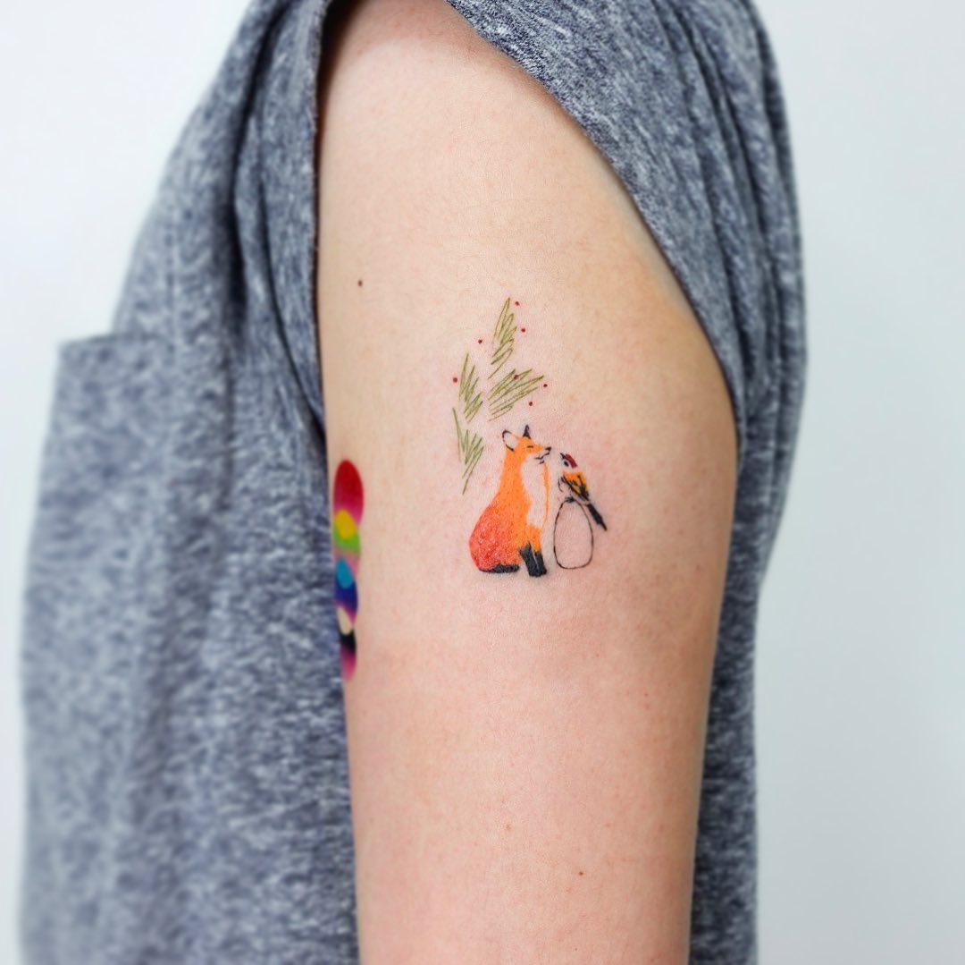 Fox and bird by tattooist Yeonho