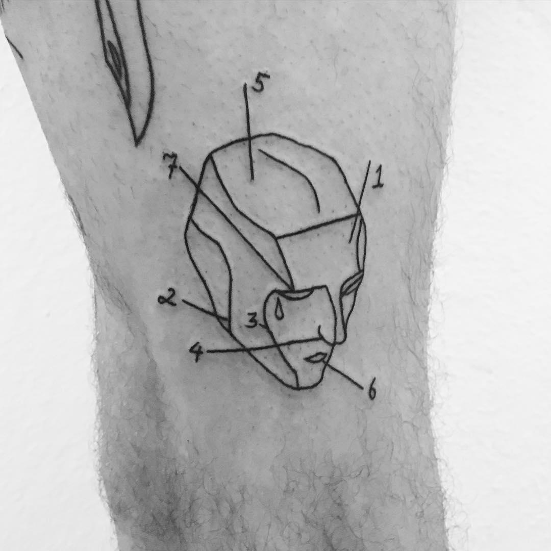 Head anatomy tattoo by Philipp Eid