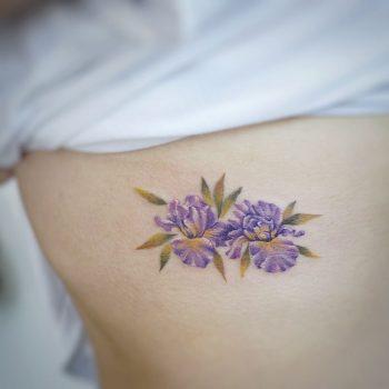Iris flower tattoo by tattooist G.NO