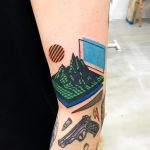 Low Poly mountains tattoo by Puff Channel